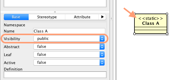 How do we represent a public static class in class diagram in astah so make sure that the visibility is public in base tab and then add static stereotype as mentioned here too in stereotype tab ccuart Choice Image
